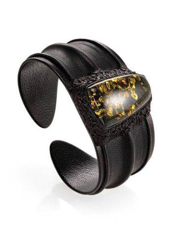 Leather Cuff Bracelet With Green Amber The Nefertiti, image