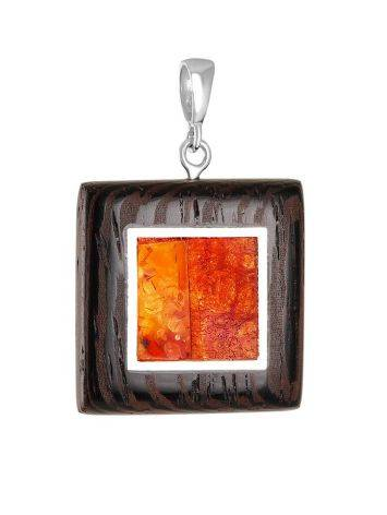 Cognac Amber And Wood Pendant The Indonesia, image