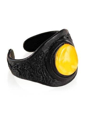 Dark Leather One Size Ring With Honey Amber The Nefertiti, Ring Size: Adjustable, image