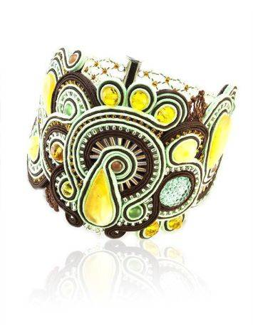 Braided Leather Cuff Bracelet With Amber And Crystals The India, image
