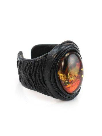 Dark Leather Open Ring With Cherry Amber The Nefertiti, Ring Size: Adjustable, image