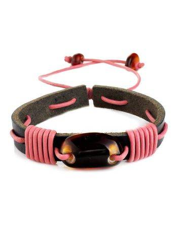 Leather Bracelet With Cognac Amber And Pink Cord The Copacabana, image