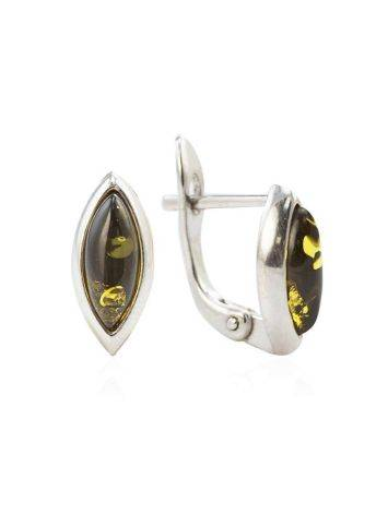 Delicate Silver Earrings With Green Amber The Amaranth, image