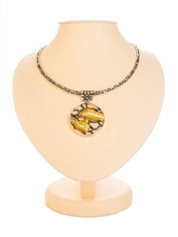 Honey Amber Necklace In Sterling Silver The Lava, image