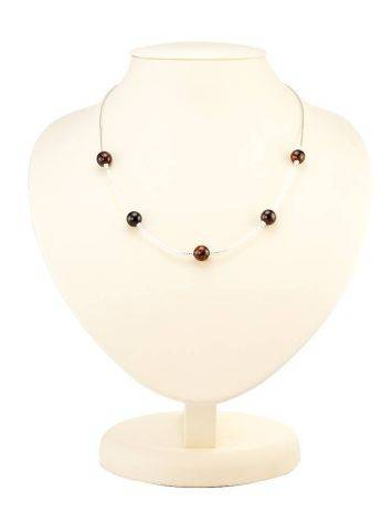 Sterling Silver Necklace With Cherry Amber Beads, image