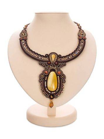 Braided Textile Necklace With Amber And Crystals The India, image