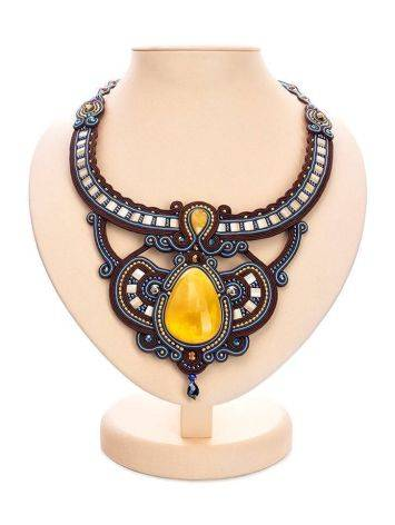 Textile Braided Necklace With Amber And Crystals The India, image
