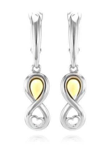White Amber Earrings In Sterling Silver The Amour, image