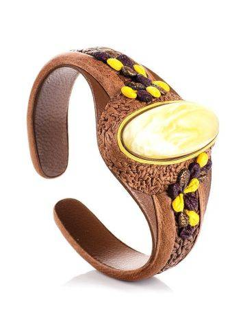 Brown Leather Bracelet With White Amber The Nefertiti, image