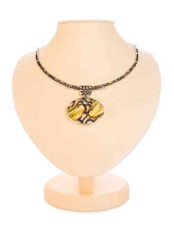 White Amber Necklace In Sterling Silver The Lava, image