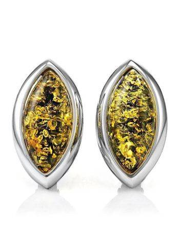 Sterling Silver Earrings With Green Amber The Amaranth, image