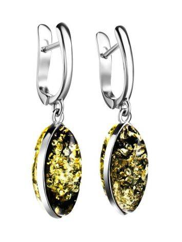 Green Amber Earrings In Sterling Silver The Amaranth, image