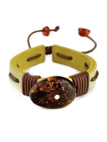 Yellow Leather Tie Bracelet With Green Amber The Copacabana, image