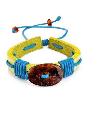 Yellow Leather Tie Bracelet With Cognac Amber The Copacabana, image