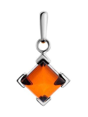Geometric Amber Pendant In Sterling Silver The Artemis, image