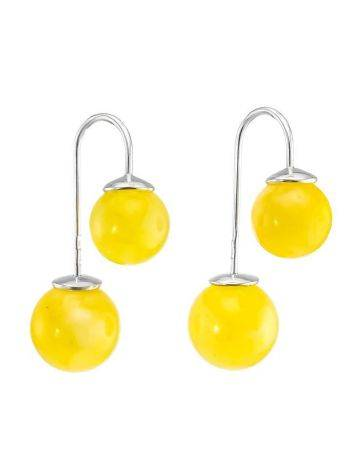 Bright Honey Amber Threader Earrings In Sterling Silver The Paris, image