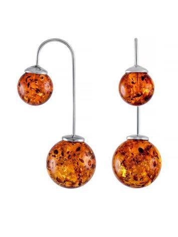 Wonderful Cognac Amber Threader Earrings In Sterling Silver The Paris, image
