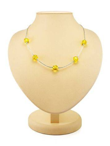 Silver Chain Necklace With Lemon Amber, image