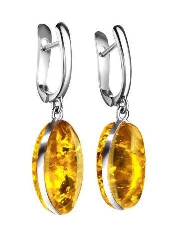 Lemon Amber Earrings In Sterling Silver The Amaranth, image