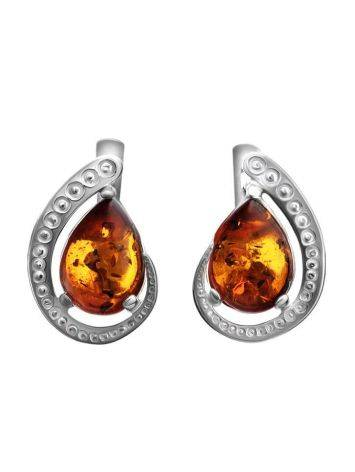 Cognac Amber Earrings In Sterling Silver The Acapulco, image