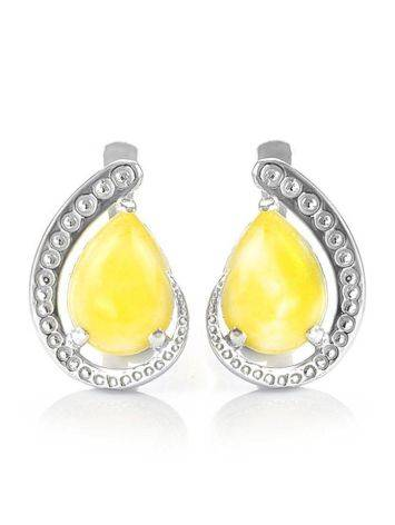 Honey Amber Earrings In Sterling Silver The Acapulco, image