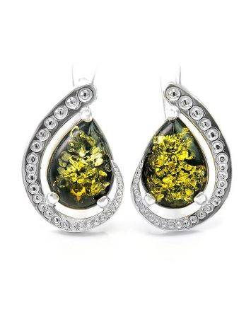 Sterling Silver Earrings With Green Amber The Acapulco, image