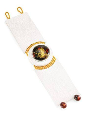 White Leather Bracelet With Green Amber The Amazon, image , picture 5