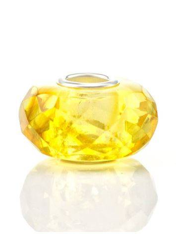 Faceted Lemon Amber Ball Charm, image , picture 2
