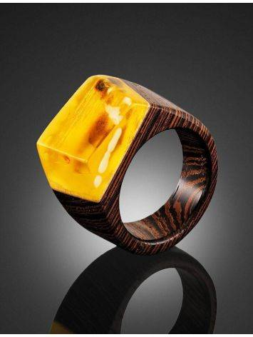 Wenge Wood Ring With Honey Amber The Indonesia, Ring Size: 9 / 19, image , picture 2