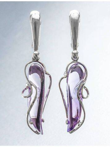 Synthetic Amethyst Dangle Earrings In Silver The Serenade, image , picture 2