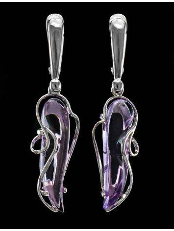 Synthetic Amethyst Dangle Earrings In Silver The Serenade, image , picture 3