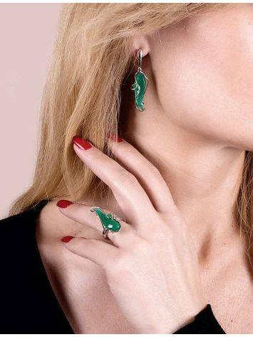 Silver Drop Earrings With Green Synthetic Onyx The Serenade, image , picture 3