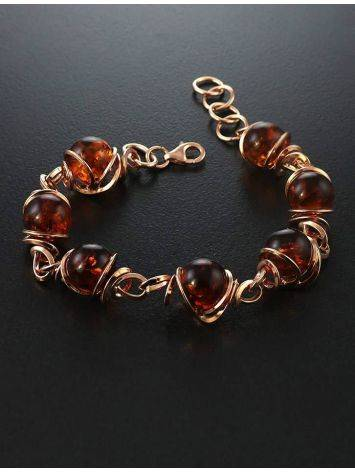 Link Amber Bracelet In Gold-Plated Silver The Flamenco, image , picture 2