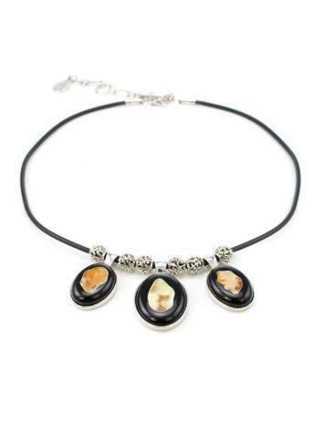Multicolor Amber Necklace In Sterling Silver The Panther, image , picture 3