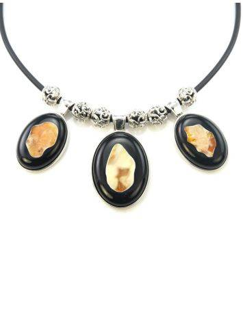 Multicolor Amber Necklace In Sterling Silver The Panther, image , picture 4