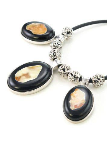 Multicolor Amber Necklace In Sterling Silver The Panther, image , picture 6