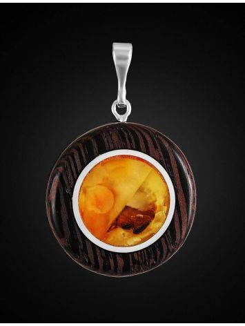 Round Wooden Pendant With Honey Amber The Indonesia, image , picture 3