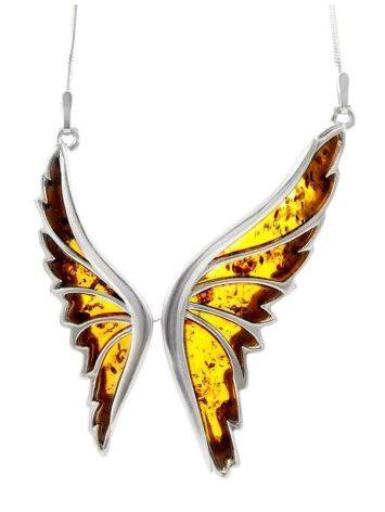 Amber Butterfly Necklace In Sterling Silver The April, image , picture 2