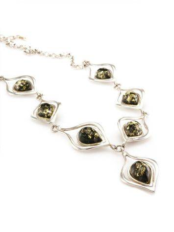 Green Amber Necklace In Sterling Silver The Fiori, image , picture 4