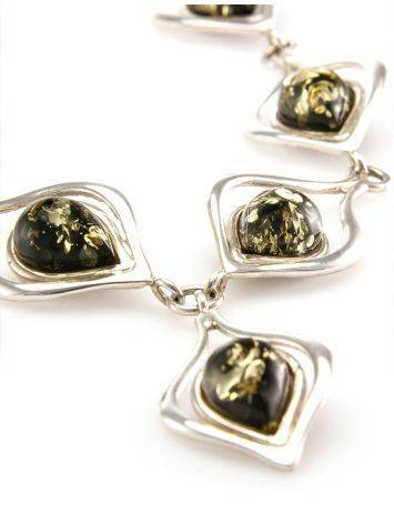 Green Amber Necklace In Sterling Silver The Fiori, image , picture 3