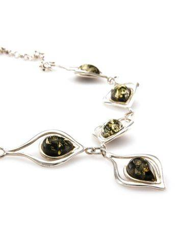 Green Amber Necklace In Sterling Silver The Fiori, image , picture 5