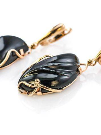 Black Synthetic Onyx Golden Dangles The Serenade, image , picture 2