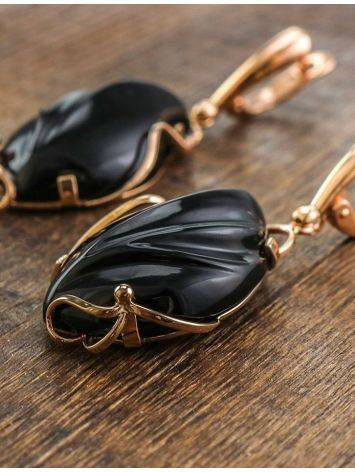 Black Synthetic Onyx Golden Dangles The Serenade, image , picture 6