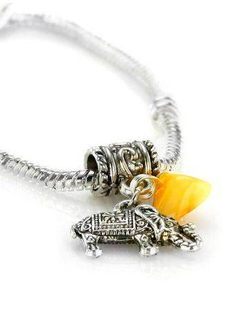 Metal Charm With Honey Amber The Elephant, image , picture 2
