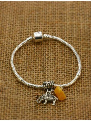 Metal Charm With Honey Amber The Elephant, image , picture 3