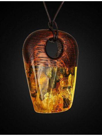 Wooden Pendant With Cognac Amber The Indonesia, image , picture 3