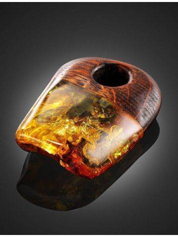 Wooden Pendant With Cognac Amber The Indonesia, image , picture 2