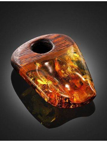 Wooden Pendant With Cognac Amber The Indonesia, image , picture 4