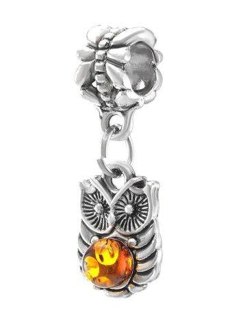 Metal Charm With Cognac Amber The Owl, image , picture 2