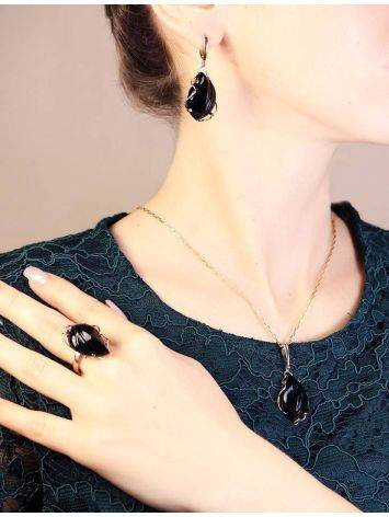 Black Synthetic Onyx Golden Dangles The Serenade, image , picture 3